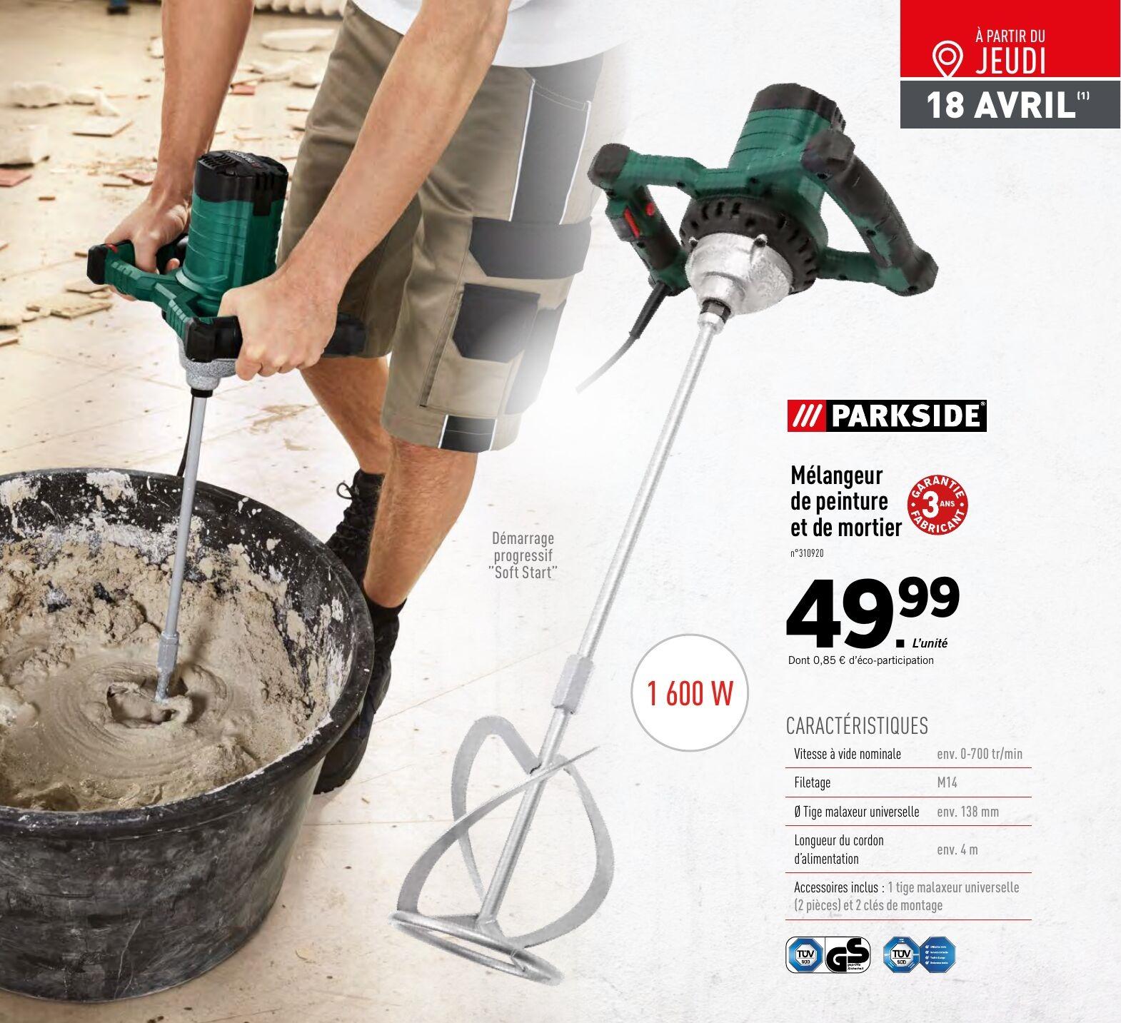 Mélangeur de peinture et de mortier Parkside PFMR - 1600W