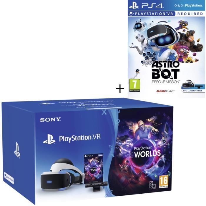 [Cdiscount à volonté] Casque Sony PlayStation VR V2 + Caméra + VR Worlds + Astro Bot Rescue Mission