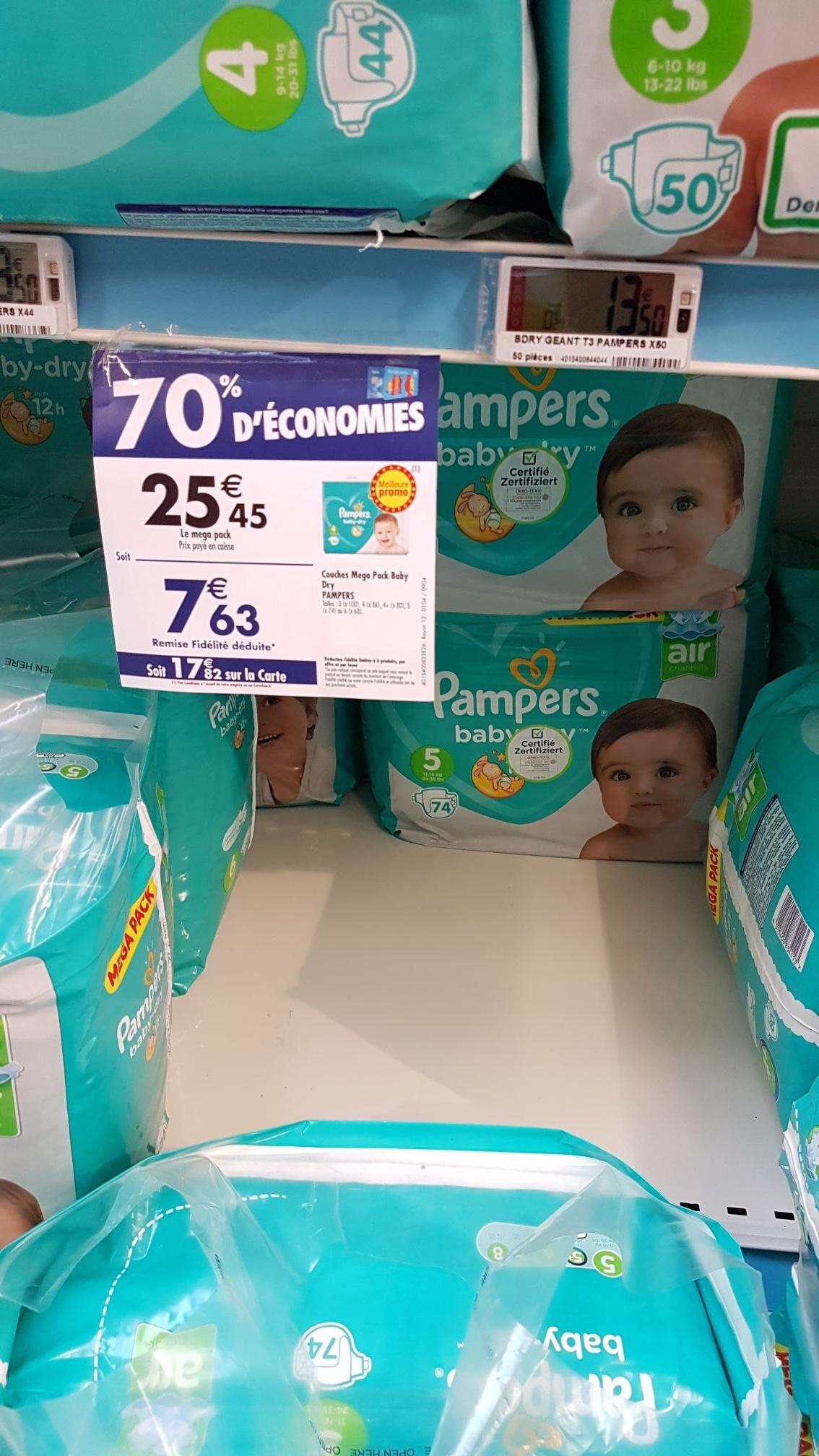 Pack de 74 Couches Pampers T5 (via 17.82€ sur la carte + BDR) -  Champs sur Marne (77)