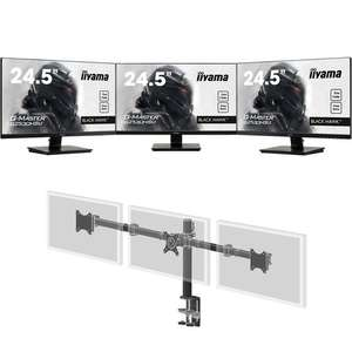 "Pack de 3 Ecrans PC 24.5"" Iiyama G-Master G2530HSU-B1 FreeSync + Iiyama DS1003C-B1 (429,52€ avec le code TWENTYCENT)"