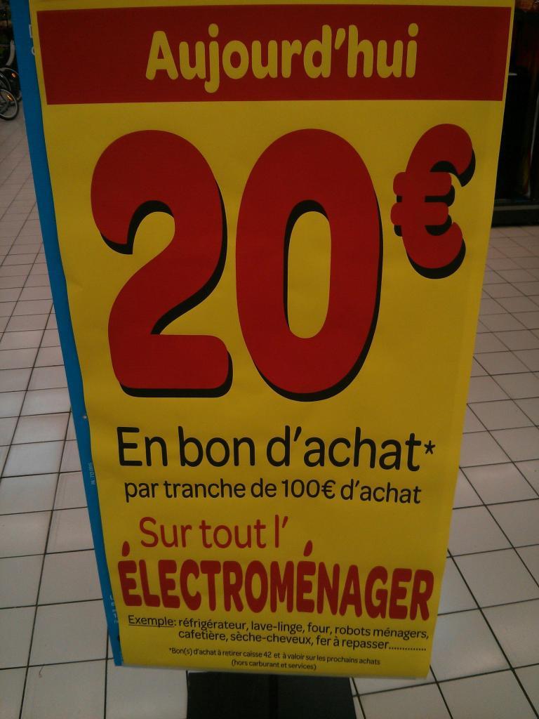 20€ offert en bon d'achat par tranche de 100€ d'achat sur tout l'électroménager