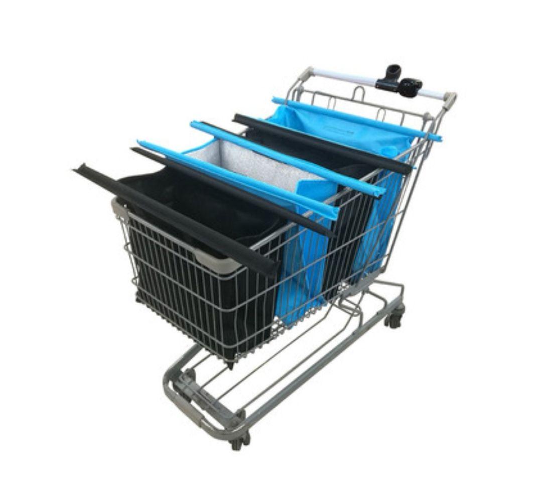 Sacs de courses détachables pour chariot - noir et bleu