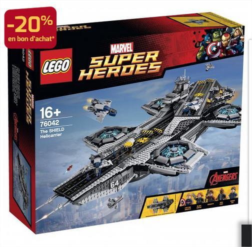 Lego Marvel Super Heroes 76042: Hélitransport Shield + 20% en bon d'achat