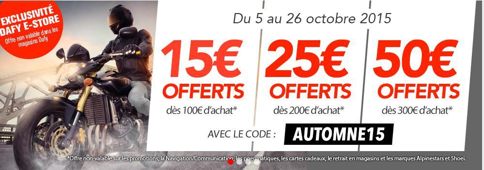 15€ de réduction dès 100€ d'achat, -25€ dès 200€, -50€ dès 300€ d'achat sur tout le site