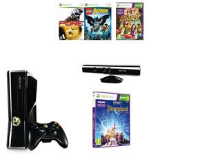 Console Xbox 360 4 Go + Kinect + Kinect adventures + Disneyland kinect + Pure + Lego Batman (209,99€ via Buyster)