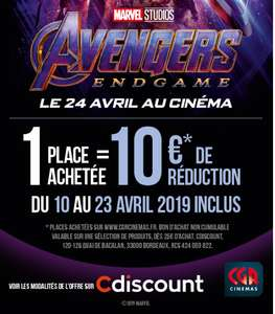 Place de cinéma pour le film Avengers: Endgame achetée dans les cinémas CGR = bon d'achat de 10€ pour 25€ d'achat offert (sous conditions)