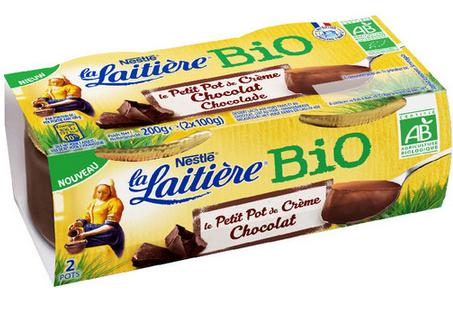 Lot Petit Pot de Crème Chocolat Bio La Laitière Gratuit - 2 x 100g (via BDR)