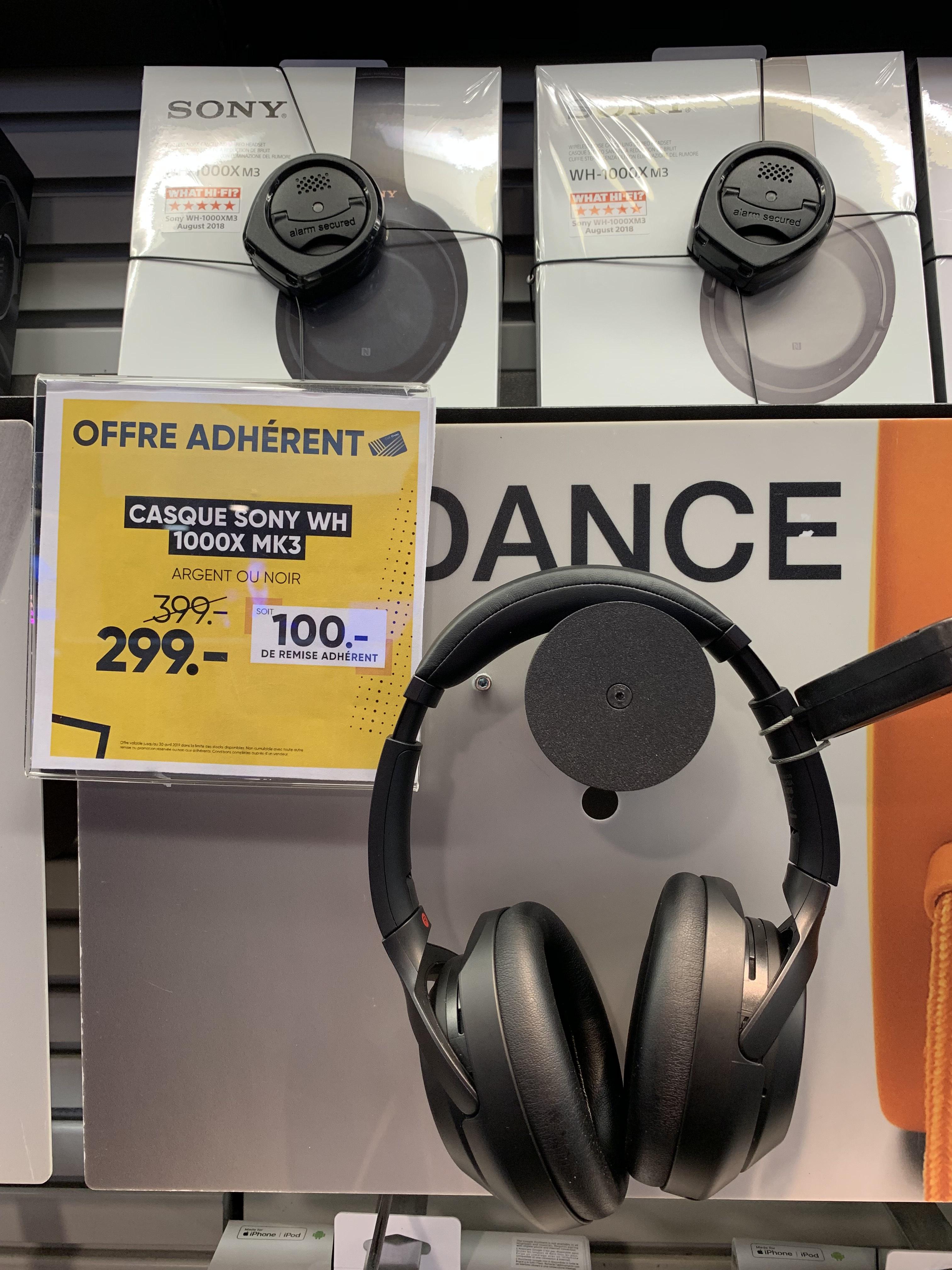 Casque Bluetooth à réduction de bruit Sony WH-1000XM3 - Noir (Frontaliers Suisse)