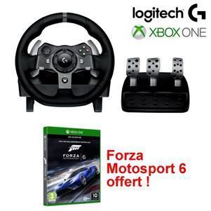 Volant et pédalier Logitech G920 Driving Force Racing Wheel + Forza Motosport 6 Edition Day One sur Xbox One