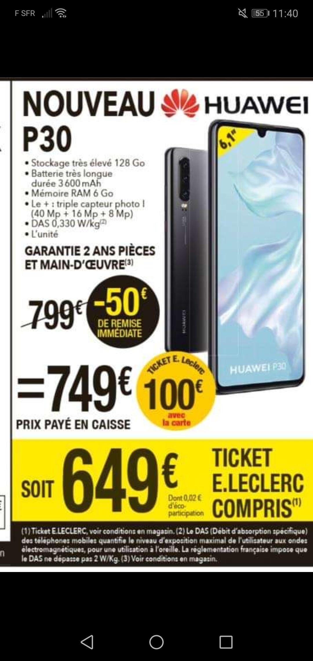 "Smartphone 6.1"" Huawei P30 - RAM 6Go, ROM 128 Go (via 100€ en tickets E.Leclerc) - Gouesnou (29)"