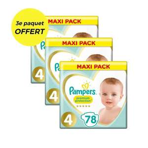 Lot de 3 Mega Packs de Couches Pampers Protection - Taille 4 (234 Pièces)