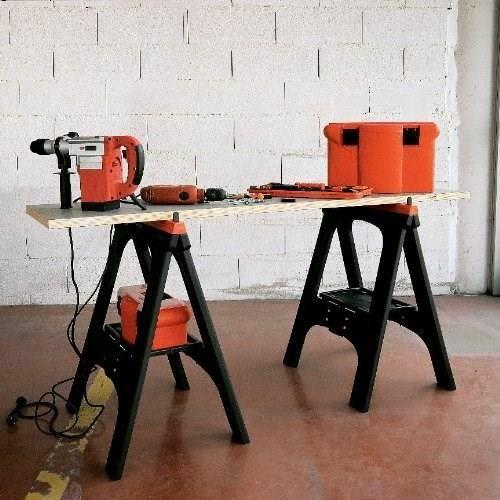 Lot de 2 tréteaux pliants Tood (max 200kg) - 60x10x80 cm