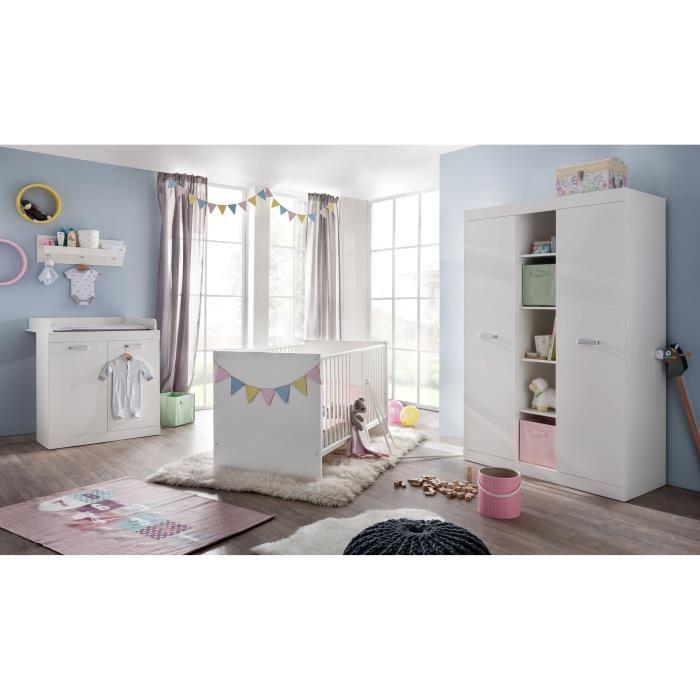Chambre de bébé complète Ronja (Lit 70x140 cm + Armoire + Commode)