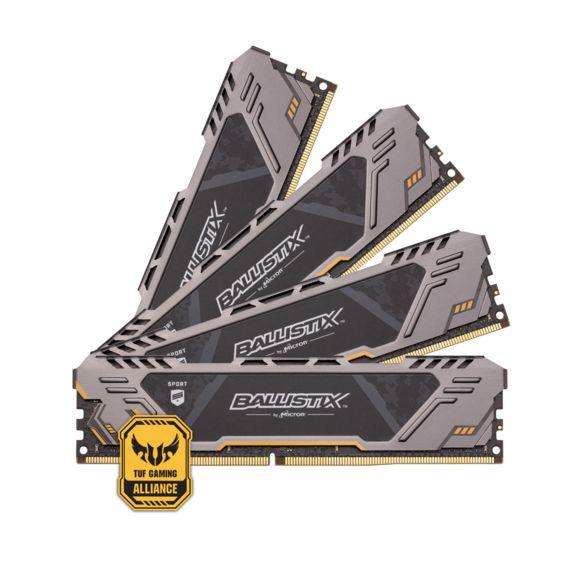 Kit mémoire RAM BALLISTIX Sport AT 32 Go(4x8Go) - DDR4, 3000MHz, CL17