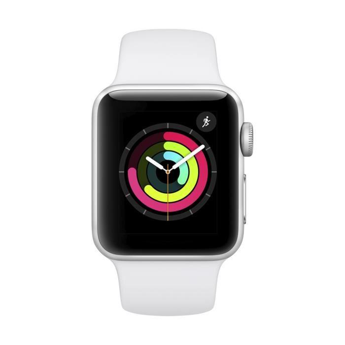 [CDAV] Montre connectée Apple Watch Série 3 GPS - Boîtier en aluminium argenté avec bracelet de sport blanc (38 mm)