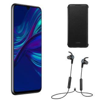 """Pack Smartphone 6.21"""" Huawei P Smart (2019) - Double SIM, 64 Go, Noir + Écouteurs sport AM61 + Etui Flip"""