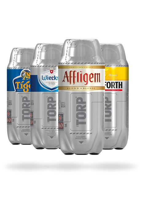 Pack de 4 fûts de bière Printemps (Torp Affligem Blonde, 1 Torp Pelforth Blonde, 1 Torp Wieckse Witte & Torp Tiger)