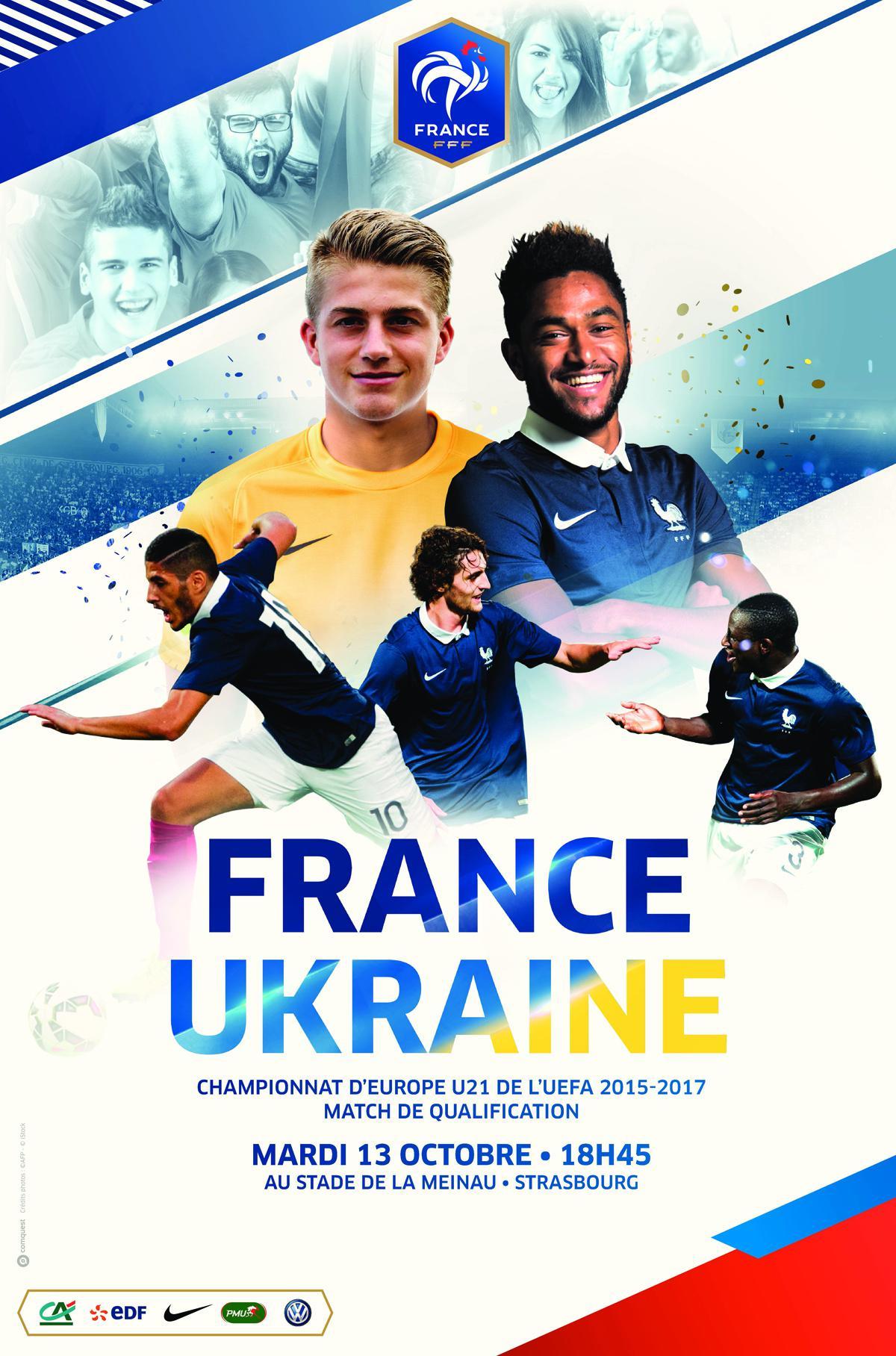 30% de réduction pour le match France/Ukraine de l'EdF Espoirs  le Mardi 13 Octobre 2015 à 18h45 à Strasbourg soit la place