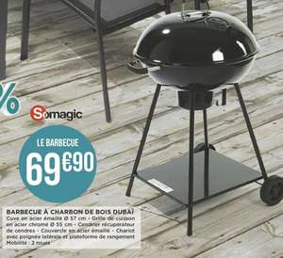 Barbecue à Bois Somagic Dubaï Gratuit - 57 cm (100% Remboursés en 4 Bons de Réduction de 17,49€ valables dès 50€ d'achat chacun)