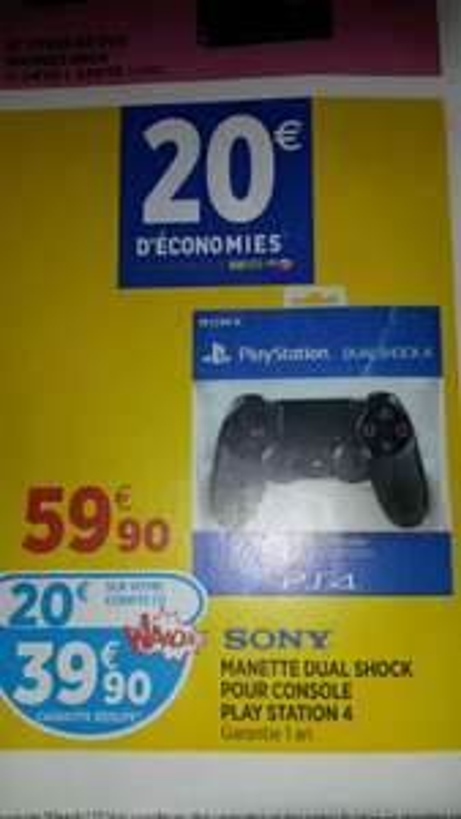 Manette Dualshock PS4 (59.90 en caisse avec 20€ sur la carte fidélité)