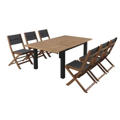 Ensemble table + 6 chaises en eucalyptus Finlandek Puisto - 120 / 180cm