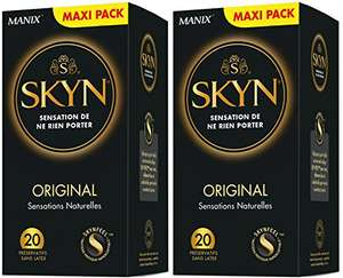 Lot de 2 paquets de 20 Préservatifs Skyn Original Sensations Naturelles