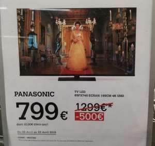 "TV 65"" LED Panasonic TX-65FX740E - 4K UHD, HDR10+, Smart TV (Bibliotheque Nationale de France 75013)"