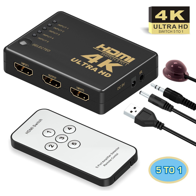 Switch HDMI GAN - 5 Entrées / 1 Sortie + Télécommande (Vendeur tiers)