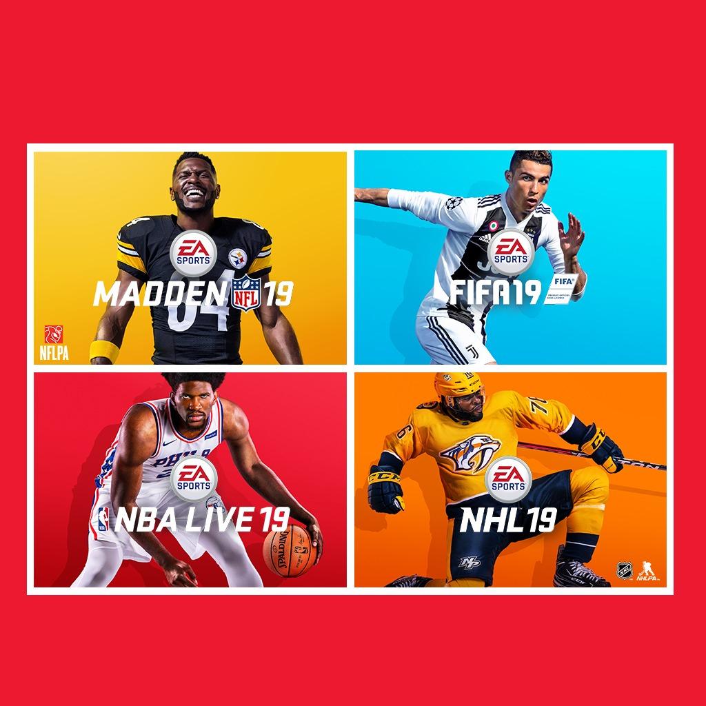 Pack EA Sports PS4 : FIFA 19, Madden NFL 19, NBA Live 19 et NHL 19 sur PS4 (Dématérialisé)