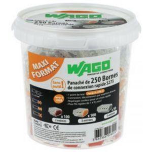 Seau de 250 bornes connexion rapide Wago - 100 bornes à 2 entrées + 100 bornes à 3 entrées + 50 bornes à 5 entrées