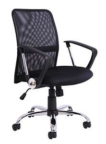 Chaise de Bureau à Hauteur Ajustable en Tissu Maillé avec Poignée de Contrôle de la Rotation, Noir