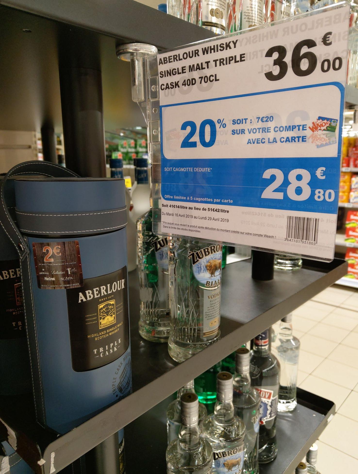 1 Bouteille de Scotch Whisky Aberlour Triple Cask (via 7.20€ sur la carte) - Velizy 2 (78)
