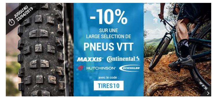 10% de réduction sur une large sélection de pneus VTT