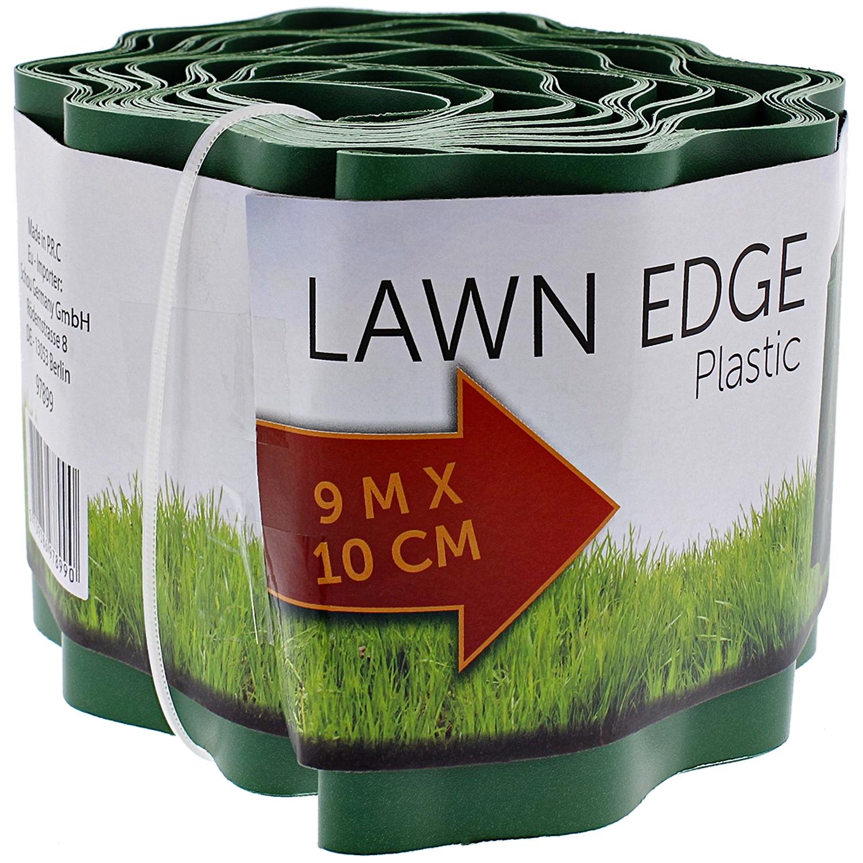Bordure gazon à dérouler plastique vert, H.10 x L.900 cm