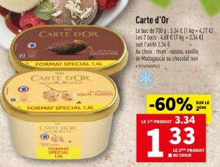 2 Bacs de crème glacée Carte d'Or - 2 x 700G