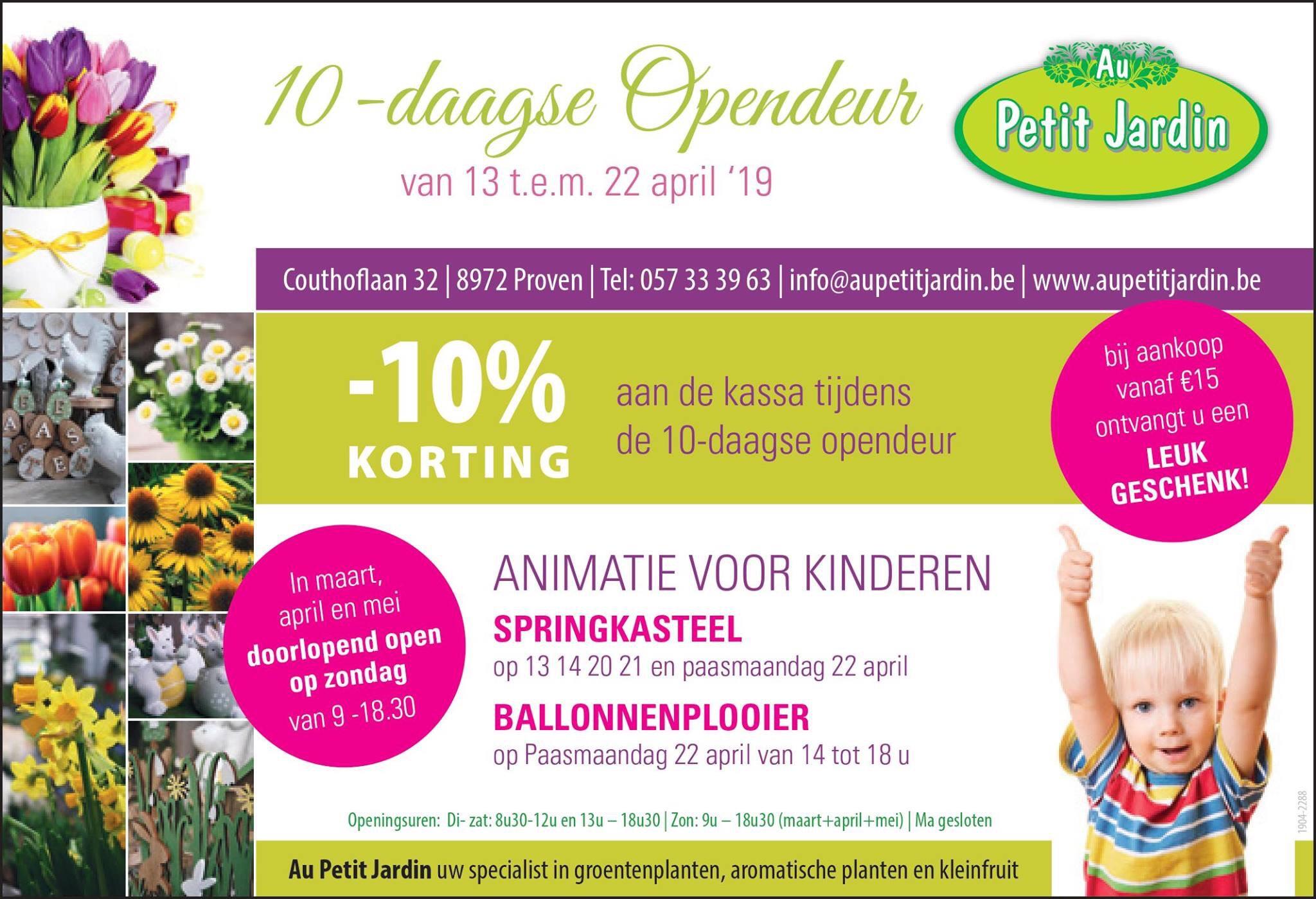 10% de réduction sur tous les achats + cadeau offert dès 15€ d'achat - Au Petit Jardin BVBA Proven (frontaliers Belgique)