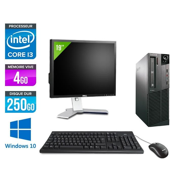 """Ordinateur Lenovo ThinkCentre M81 SFF (i3-2100, 4 Go de RAM, 250 Go) + écran 19"""" + clavier + souris - reconditionnés"""