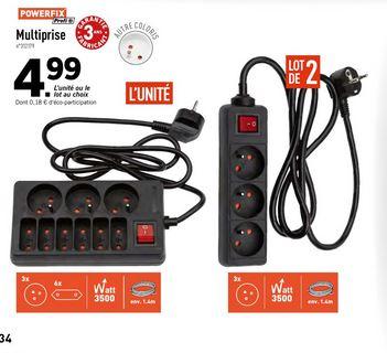 Sélection de multiprises en promotion - Ex : lot de 2 multiprises - 3 prises, avec interrupteur