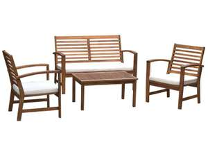 Salon de jardin Mahe 2 - table basse + banc 2 place + 2 chaises, en acacia massif