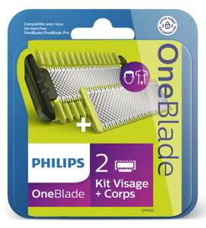 Pack de 2 Lames Philips Oneblade kit visage et corps QP620/50 ou rasoir Philips avec 3 sabots OneBlade