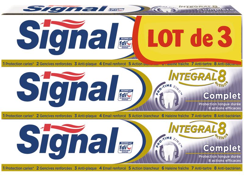 Lot de 3 Tubes de Dentifrice Signal Intégral 8 complet - 3 x 75ml divers variétés (Via 2,73 € sur la carte fidélité + BDR)