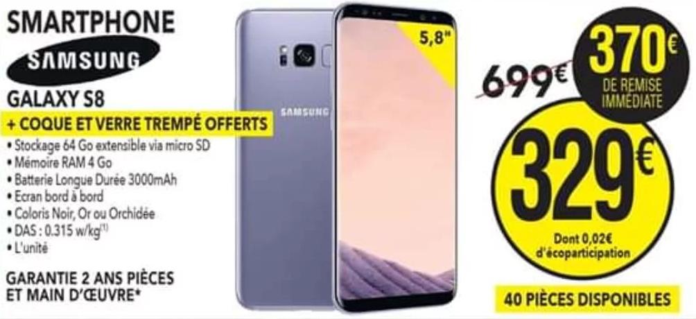 "Smartphone 5.8"" Samsung Galaxy S8 - 64 Go + Coque + Verre offerts (Gouesnou 29)"