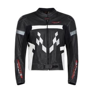 Blouson moto en cuir Rider-Tec (protections EVO dorsale, coudes et épaules incluses) - Taille au choix
