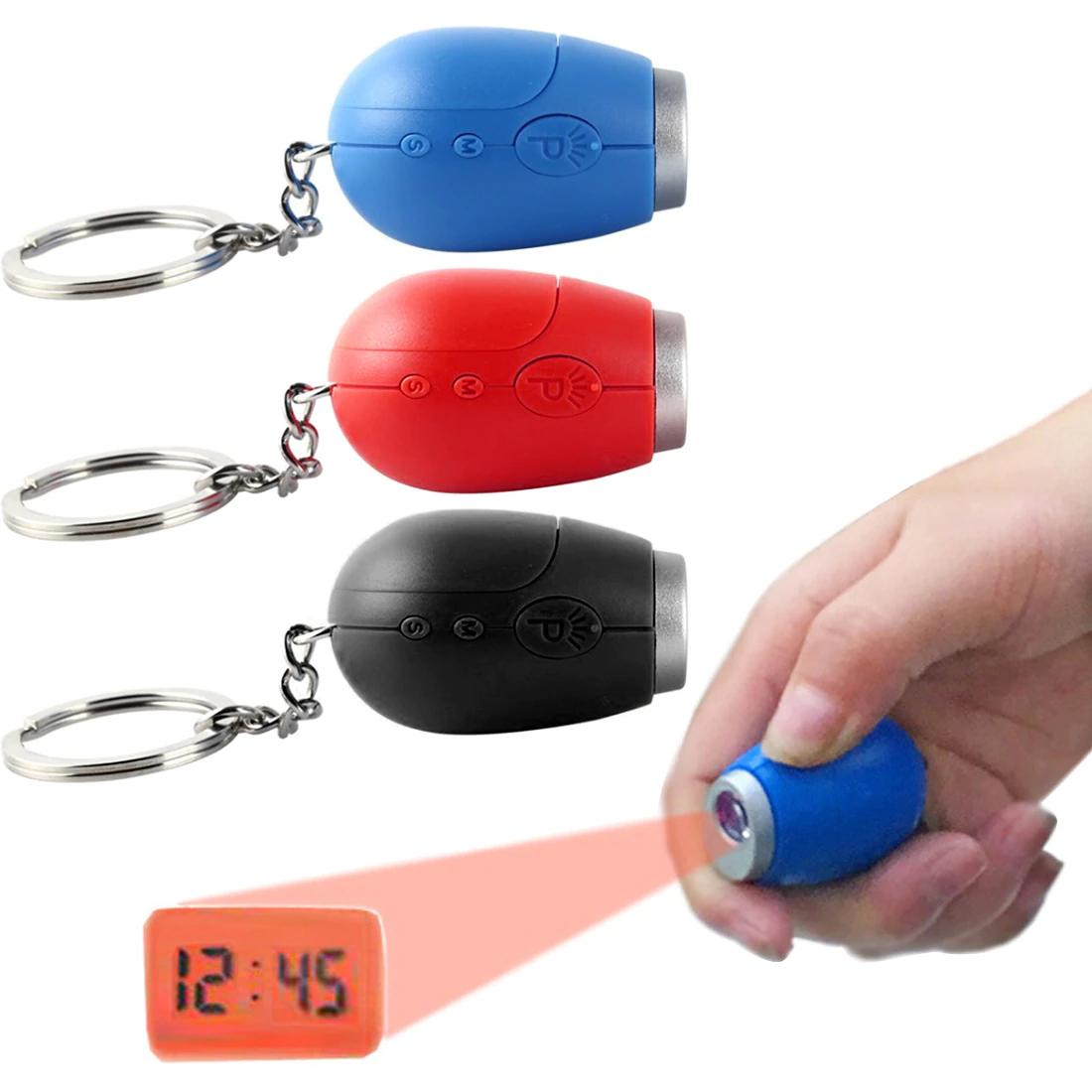 Porte-clés mini-projecteur d'horloge LED - différents coloris