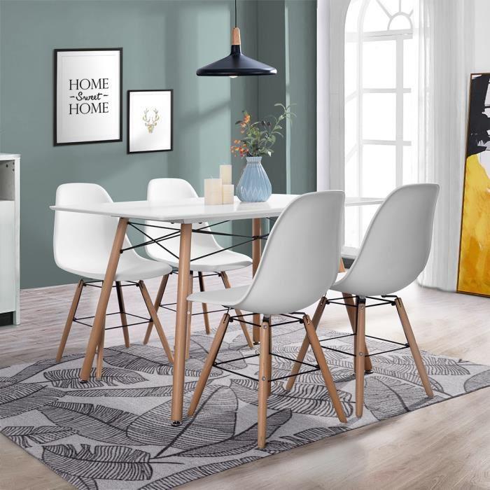 [Cdiscount à volonté] Ensemble table à manger 4 à 6 personnes London (120 cm x 80 cm) + 4 chaises scandinaves Argus V1