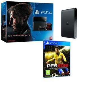 Console Sony PS4 500 Go + Metal Gear Solid V The Phantom Pain ou God Of War Remastered + PES 2016 + PlayStation TV