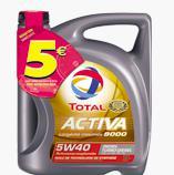 Jusqu'à 5€ de remise immédiate sur une sélection de bidons d'huile moteur Total - Ex : 5€ de remise sur un  bidon de 5L total Activa 9000 5W-40