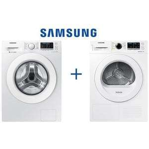 [CDAV] Lave-linge frontal Samsung WW80J5455MW - 8Kg + Sèche linge DV80M5010KW - 8Kg - Pompe à chaleur - A++ (Via ODR 90€)