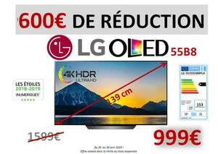 "Tv 55"" LG OLED55B8PLA OLED, 4K - Avermes Moulins (03)"