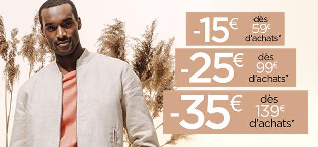 15€ de réduction dès 59€, 25€ dès 99€ et 35€ dès 139€ d'achats sur tout le site
